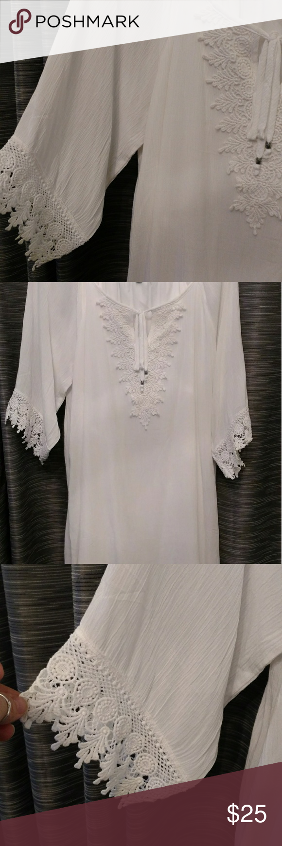 Naif Dress Beautiful material and cut with an under pinning of a soft layer, white flowy dress or cover-up. Never worn. Naif Dresses Midi