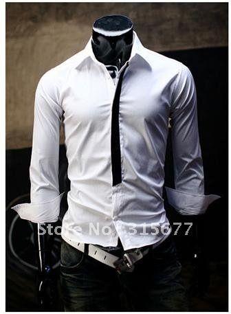 Free shipping Mens apparel Casual Shirts Long-sleeve Slim Shirt Tie Design Cotton shirts white black M-XXL YS917 /45
