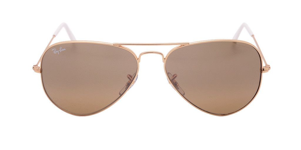 RAY BAN RB3025 001/3K 58 AVIATOR GRADIENT Gold / Brown Silver Mirror ...