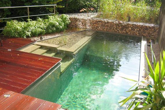 Bio-schwimmteich Garten Unterschiedliche Ebenen Treppen | Garten ... Schwimmteich Garten Anlegen