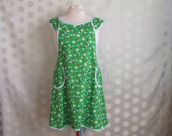 Plus size Apron  Lady Bugs on green with Blue by timelessaprons, $48.00