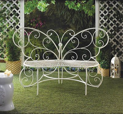 Garden Wrought Iron White Butterfly Park Bench Lawn Chair Seat Up