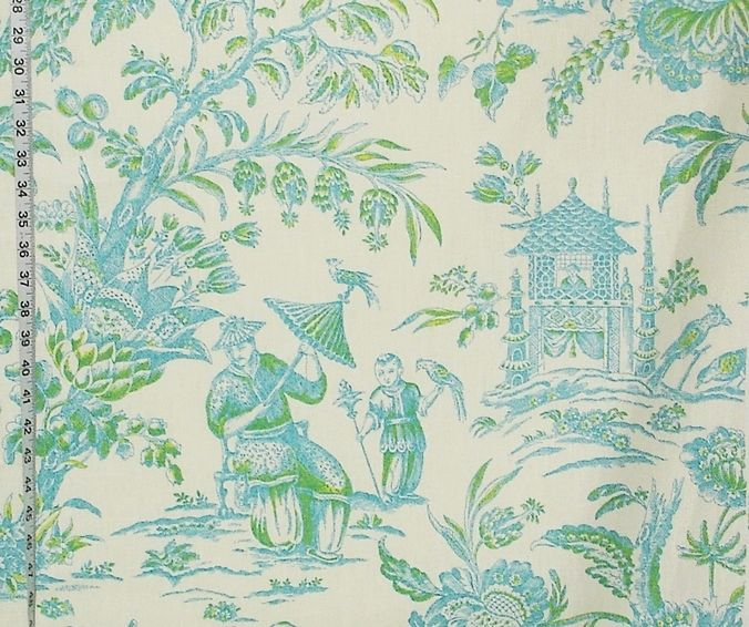 Oriental Chinoiserie toile fabric pagoda turquoise blue