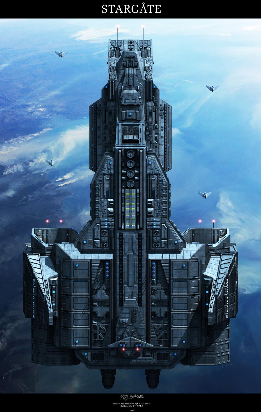 HD Stargate Battle with Wraith ship   Sci fi wallpaper