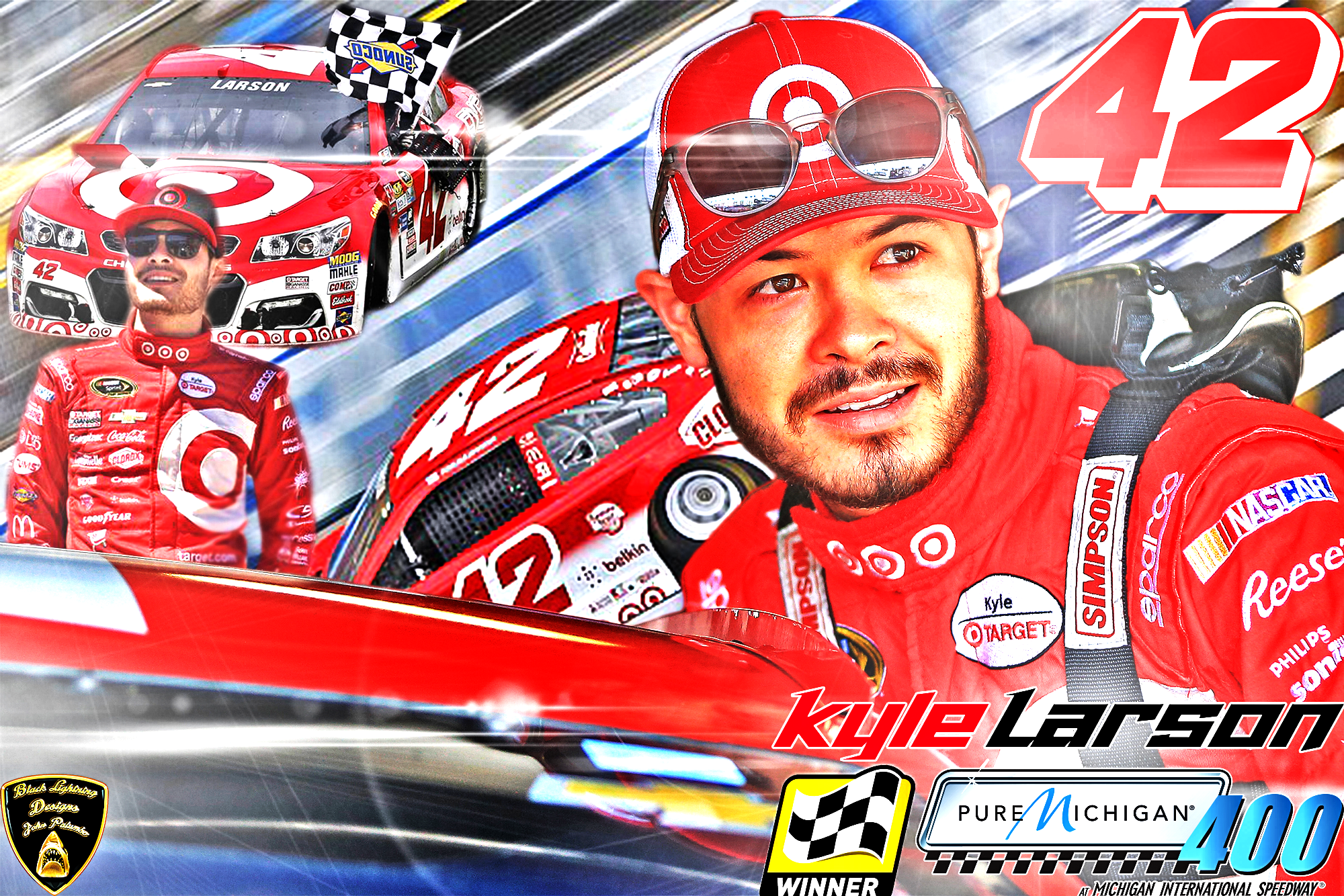 I Made This Awesome Cover Wallpaper Winning Picture Of Kyle Larson Hope Everyone
