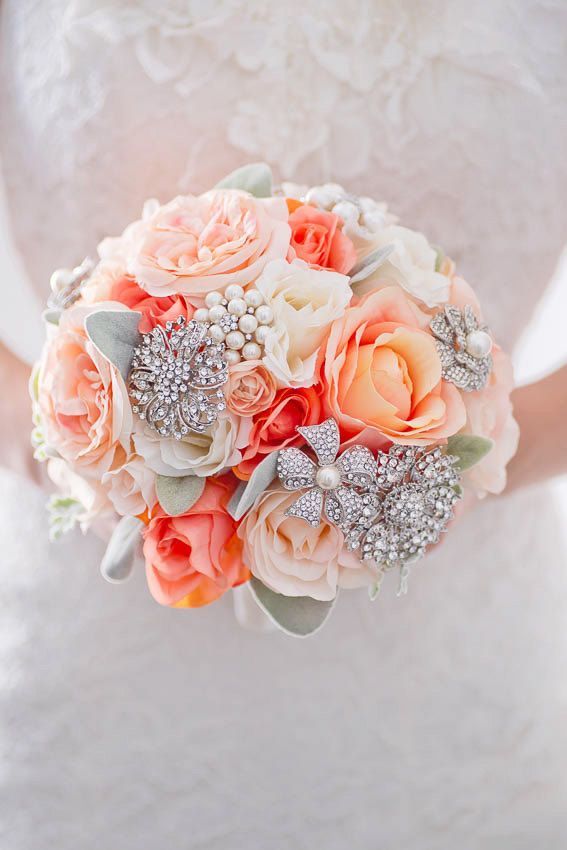 Custom Peony Rose Silk Flower Brooch Bouquet, Coral Blush Real Touch ...
