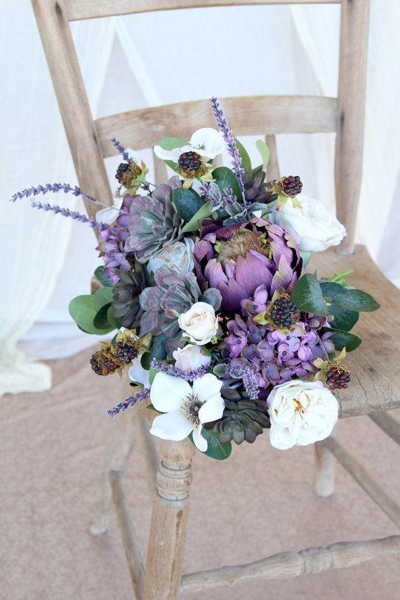 Succulent Wedding Bouquet Lavender Purple By Southerngirlweddings Succulent Bouquet Wedding Silk Flower Bridal Bouquet Purple Wedding Flowers
