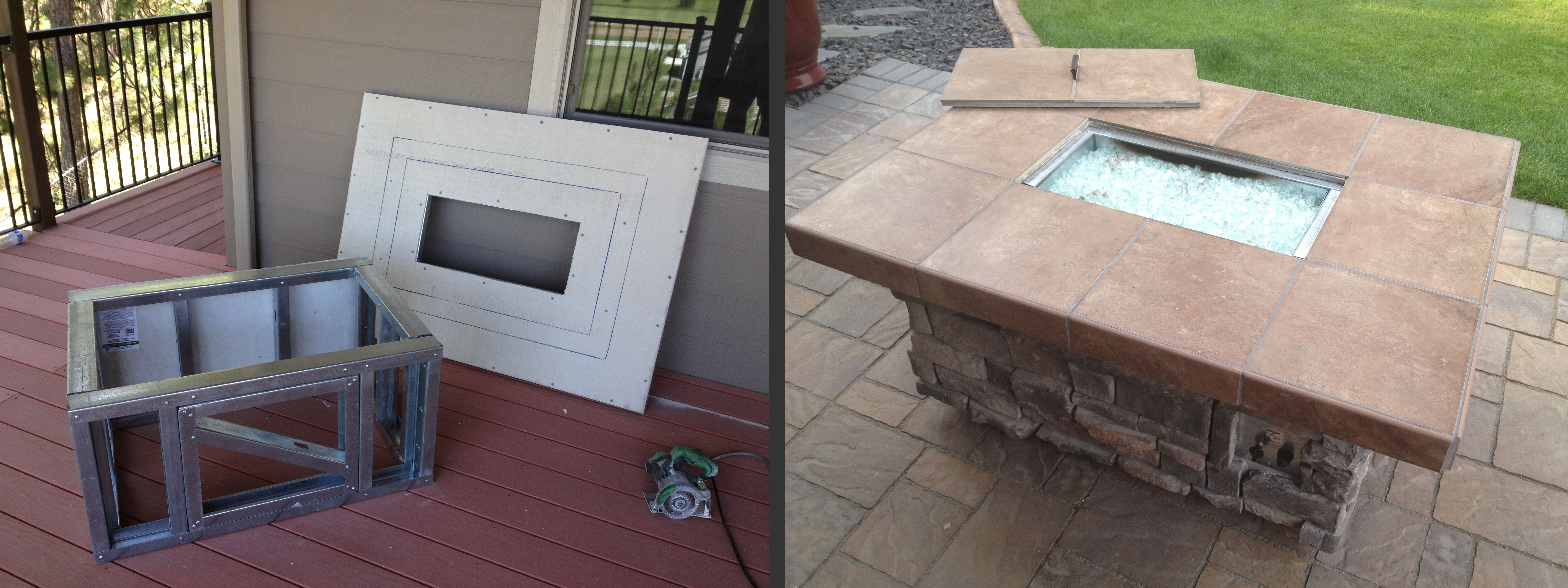 a gas fire pit using scafco steel studs to create the frame
