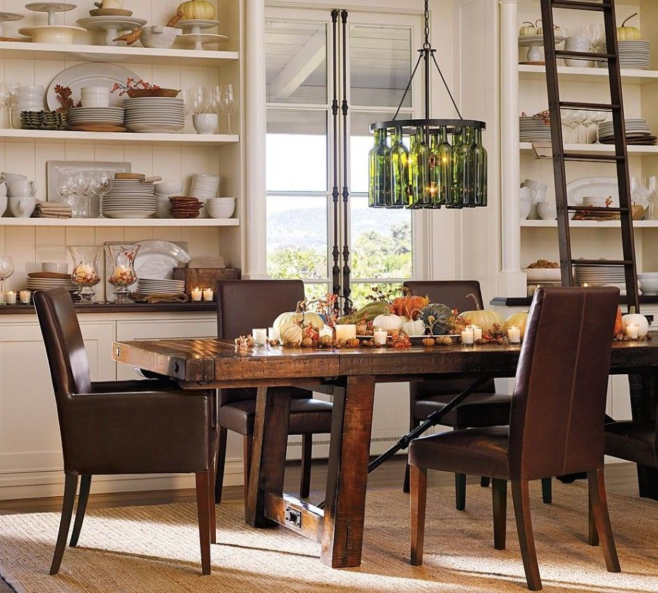 Tables u chairs durable pottery barn kitchen table brown leather