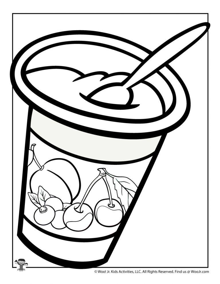 Yogurt Coloring Page Woo Jr Kids Activities Coloring Pages Coloring Pages For Kids Color Activities