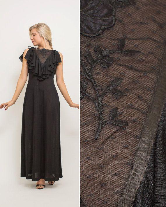 Black bridemaid dress vintage 70s EVENING dress DISCO 1970s PARTY