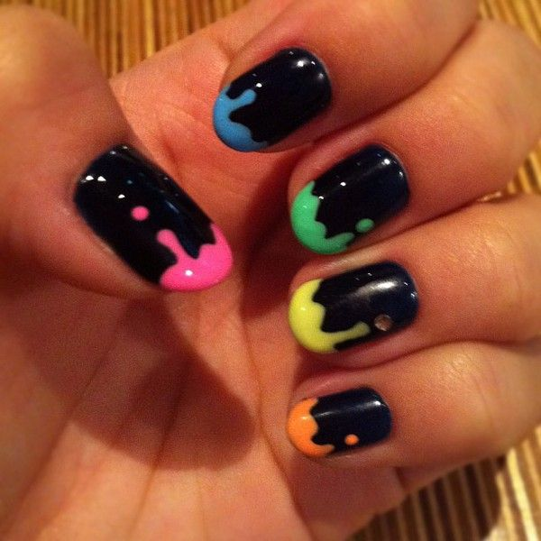"""Black with Bright Dripping. Use the tip of a bobby pin as a dotting tool.  First make some random dots where you want the """"dripping"""" to go, than drag the color to the tip of the nail."""
