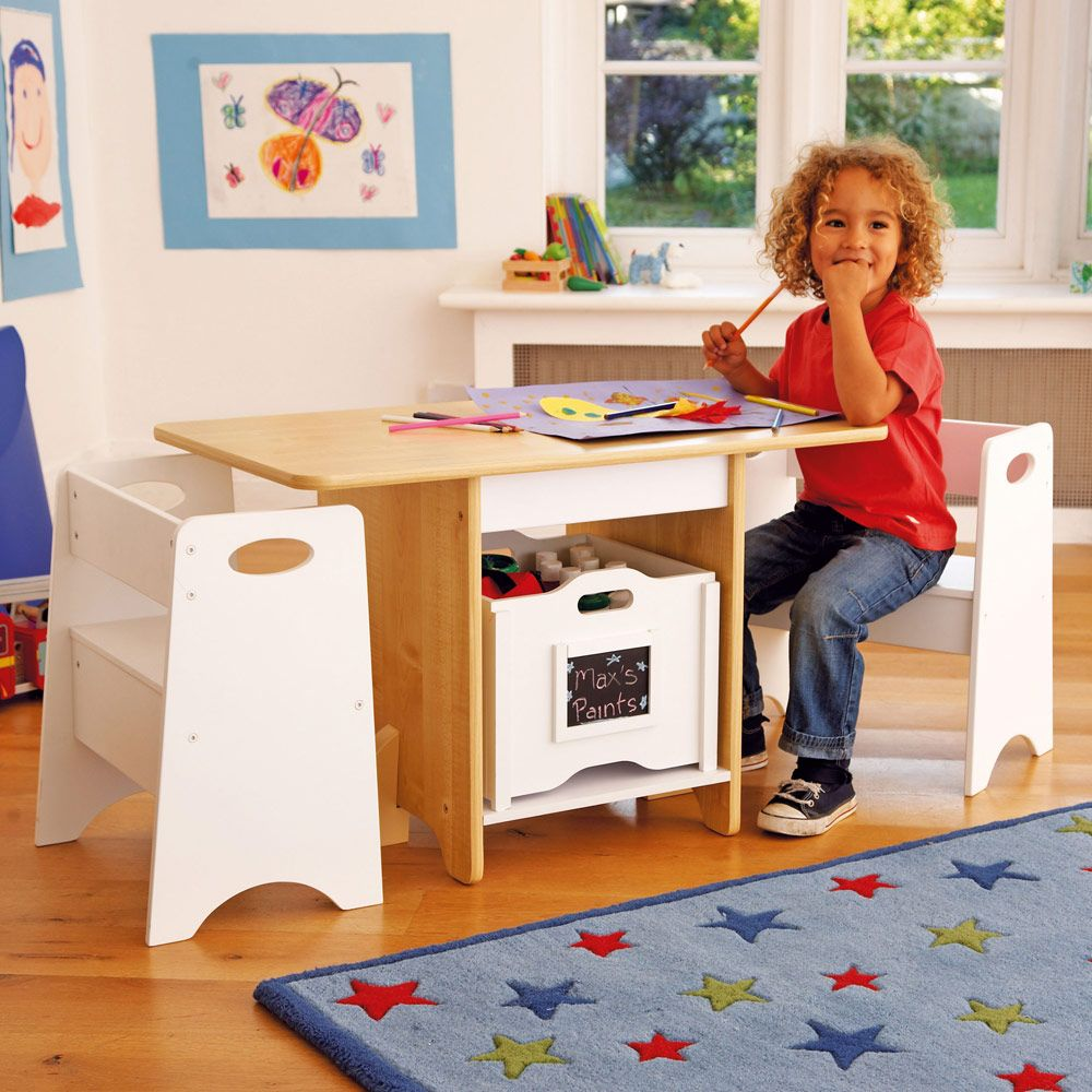 Kids Kitchen Table: White & Natural Play Table Set