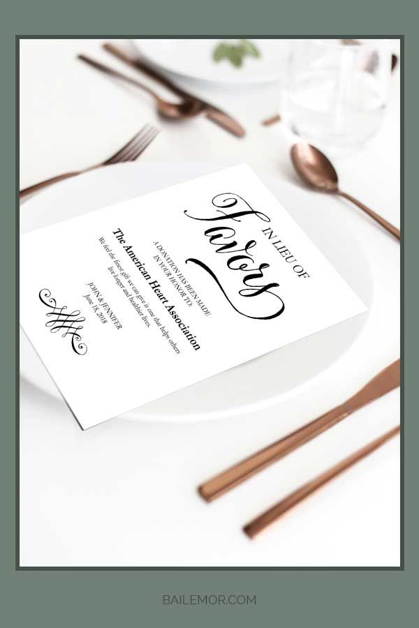 Wedding Donation Cards In Lieu Of Favors Cards Charity Donations