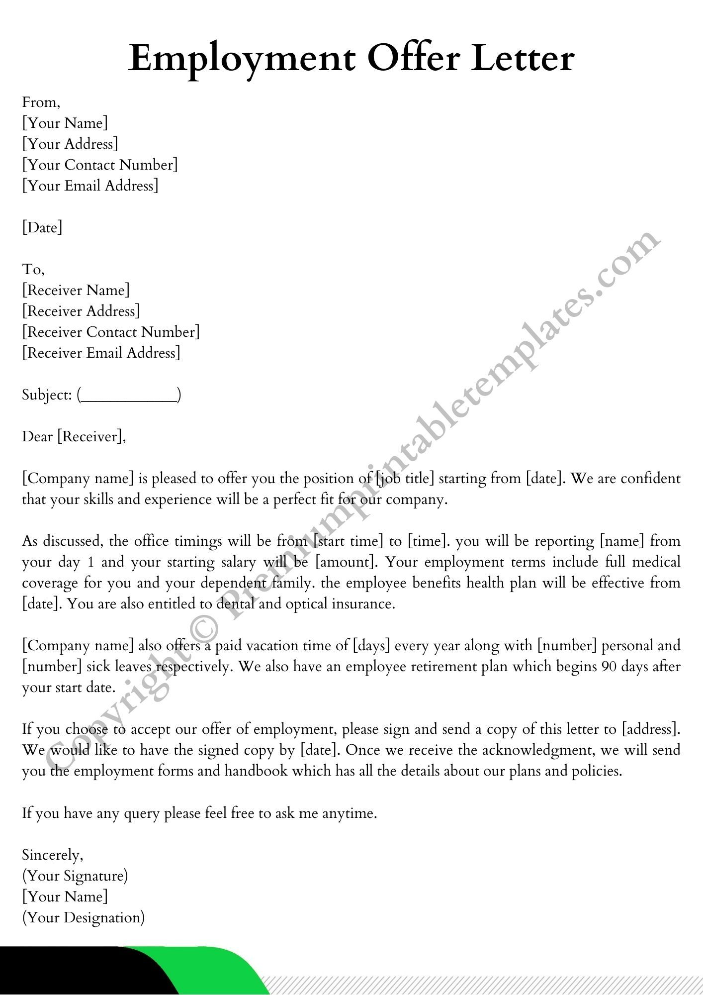 Employment Offer Letter Pack Of 3 Premium Printable Templates In 2021 Lettering Template Printable Employment
