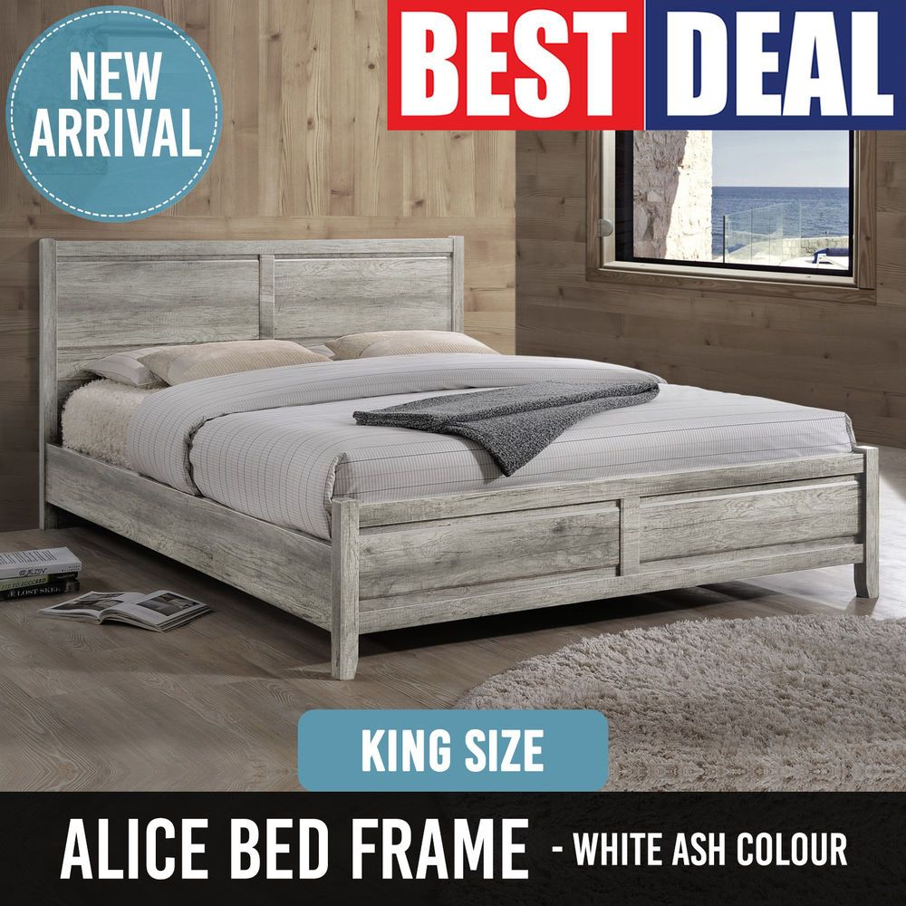 Bed Frame MDF Aesthetic Strong Legs Flat Pack King Size White Ash Colour Alice