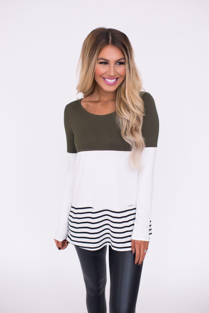 Olive Striped Color Block Top - Dottie Couture Boutique