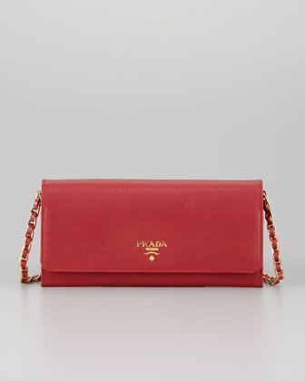 Saffiano Wallet on a Chain, Fuoco by Prada at Neiman Marcus.   PRADA ... 5a72a13748