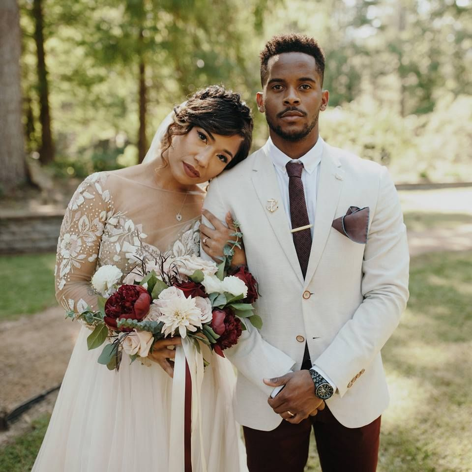Love her dress AND his suit! Groom wedding attire