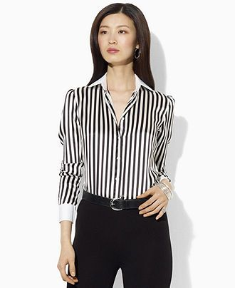 Lauren by Ralph Lauren Top, Long-Sleeve Striped Silk Shirt - - Macy's