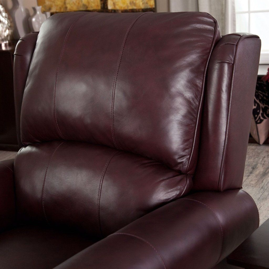 burgundy topgrain leather upholstered wingback club