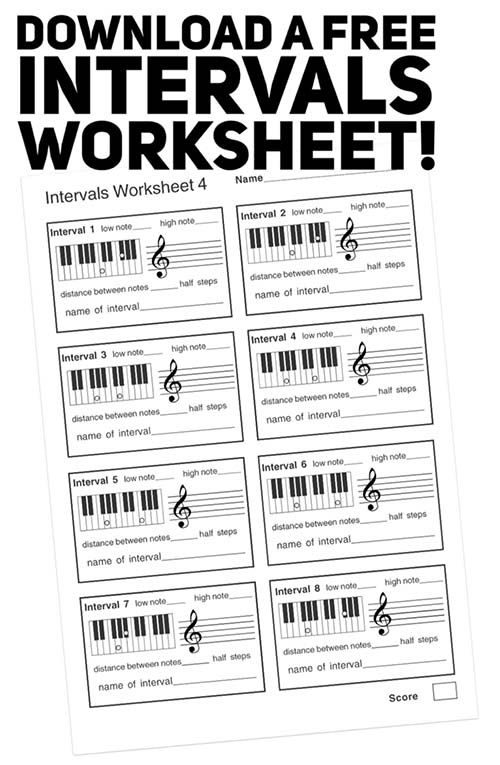 free music theory intervals PDF worksheet | Music theory ...