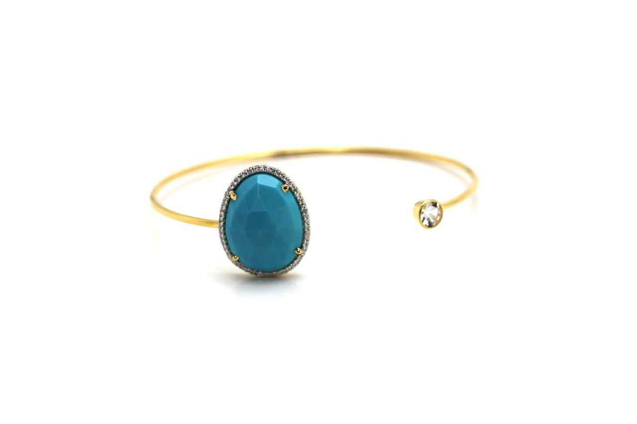 Couture Candy - Tresor Collection - Yellow Gold Bangle With Turquoise, Diamond