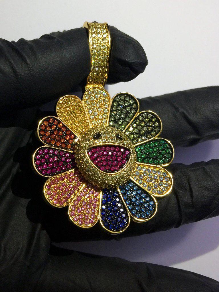 Custom murakami flower fidget spinner pendant with matching chain