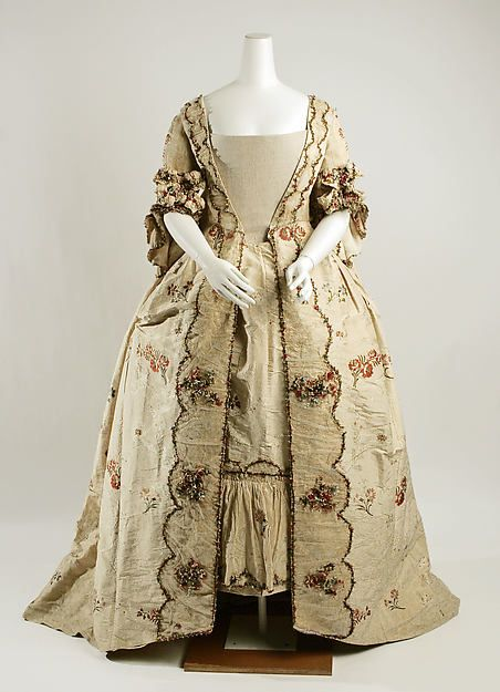 Robe à la Française Date: 1760–80 Culture: British Medium: silk Dimensions: Length (a): 63 in. (160 cm) Length (b): 8 in. (20.3 cm) Length (c): 43 in. (109.2 cm) Credit Line: Rogers Fund, 1925
