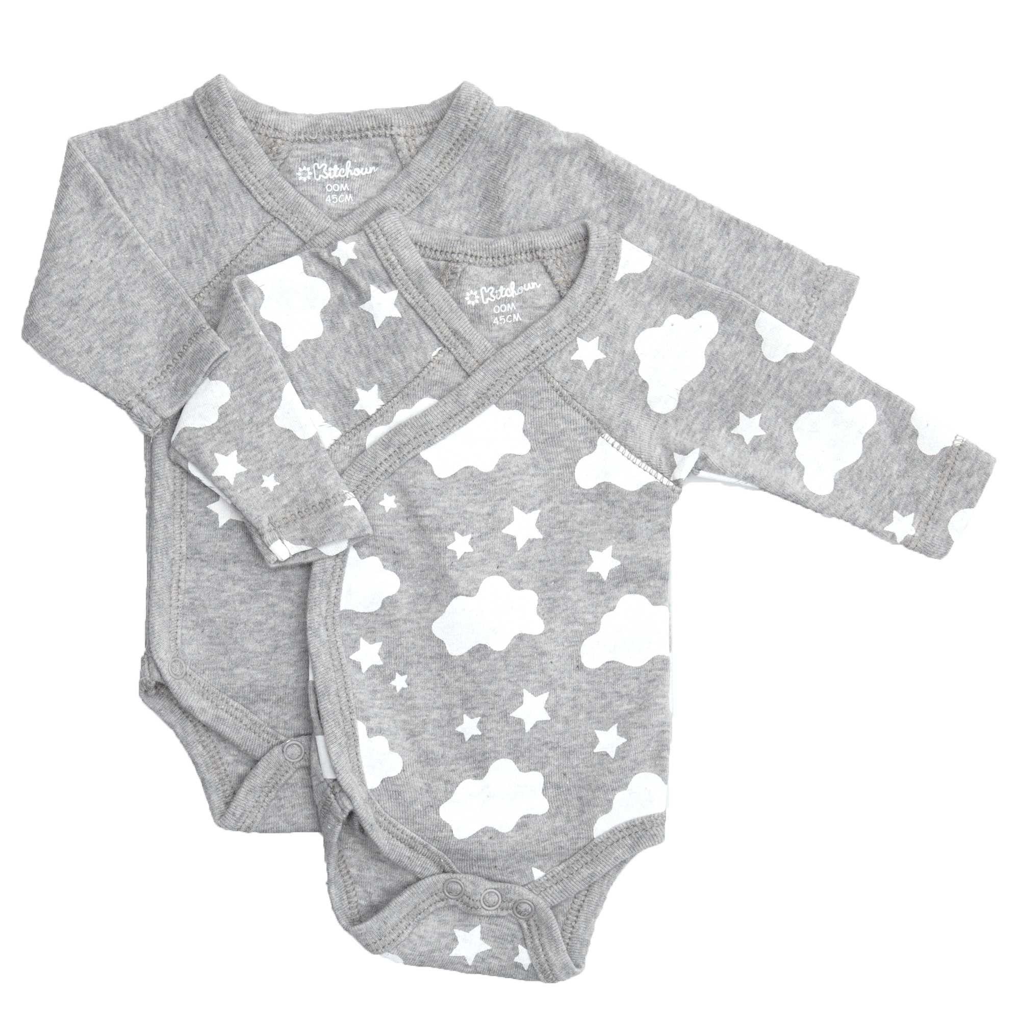 Set van 2 gekruiste rompertjes van biologische katoen grijs Meisjes  babykleding KIABI 7 d08a8dfb3b7