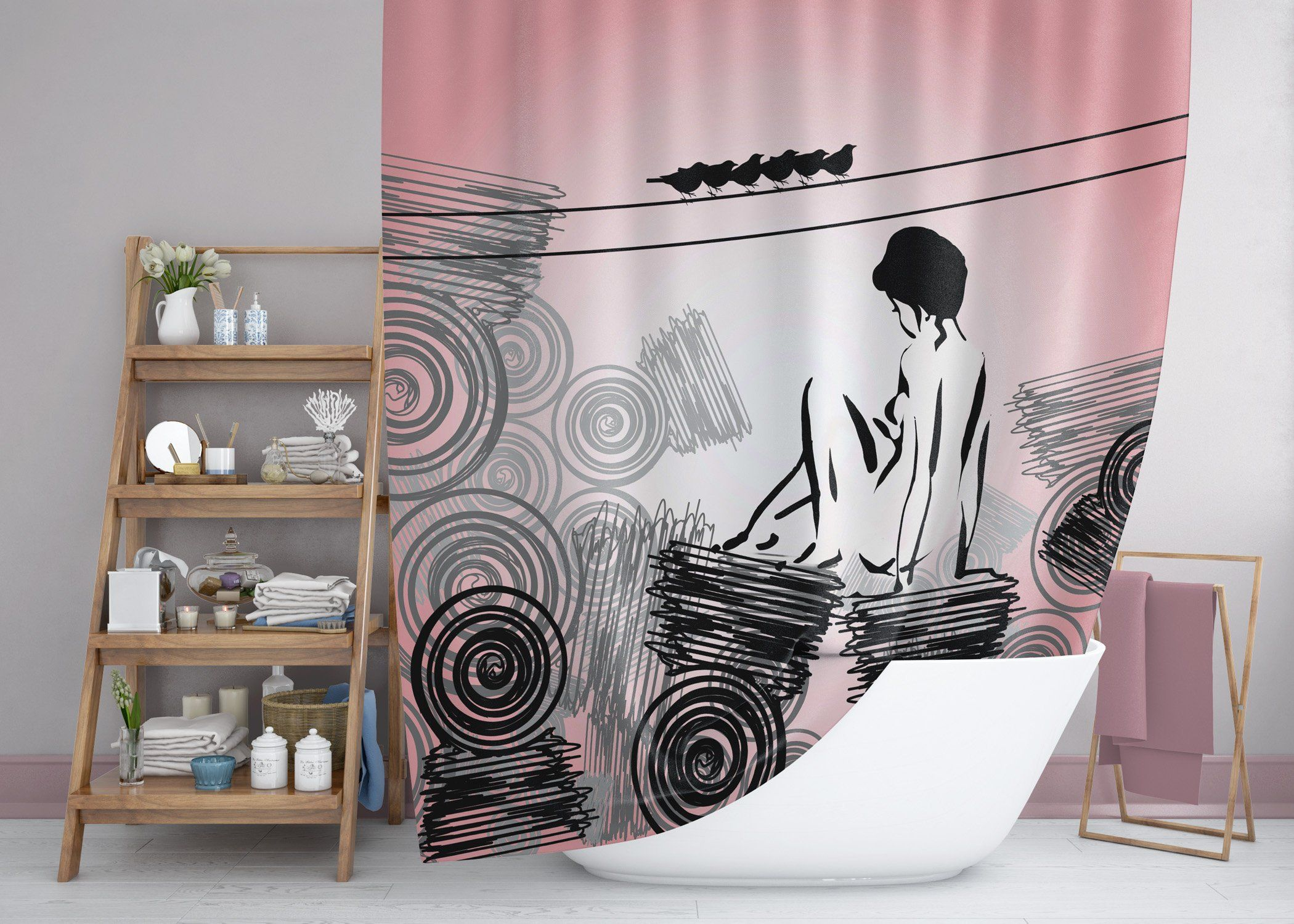 Retro Girly And Glam Pink And Black Shower Curtain Sixties