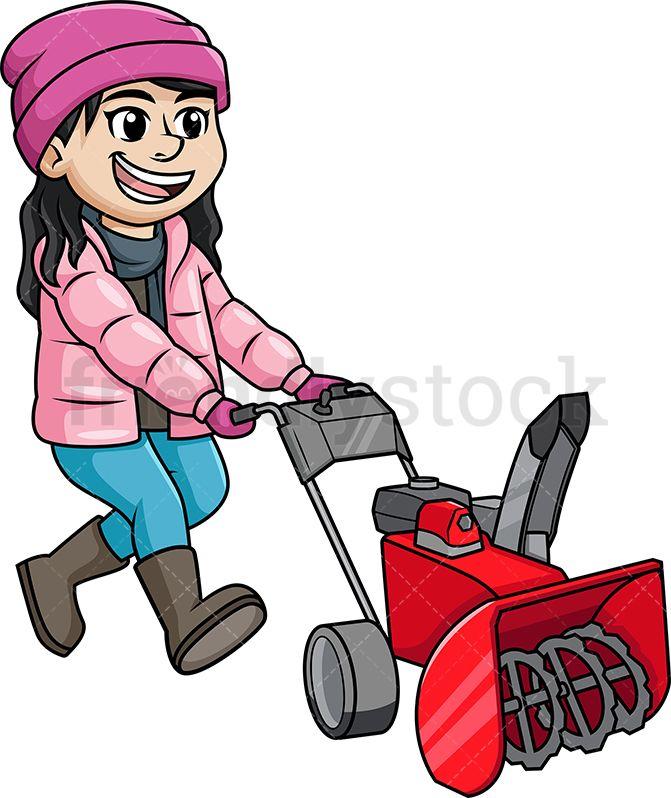 Woman Pushing Car Out Of Snow Cartoon Clipart Vector - FriendlyStock