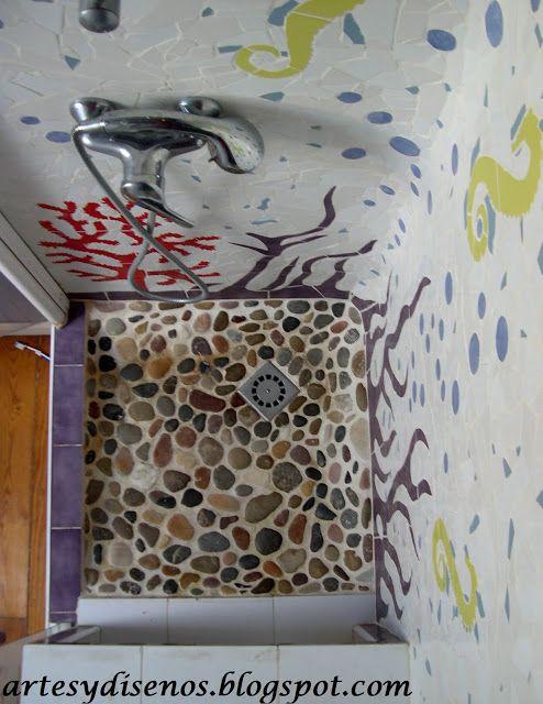 Paredes y pisos de piedra para ba os by artesydisenos for Pisos y paredes para banos modernos