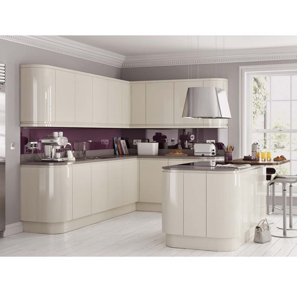 Cream Integrated Handle Less Handless Gloss Kitchen Complete Fitted Units Curved Kitchen Glossy Kitchen High Gloss Kitchen Cabinets