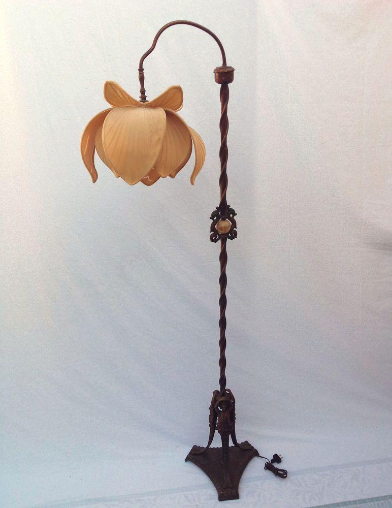 Antique Goose Neck Floor Lamp Painted Cast Iron Mermaid Goddess Sea ...