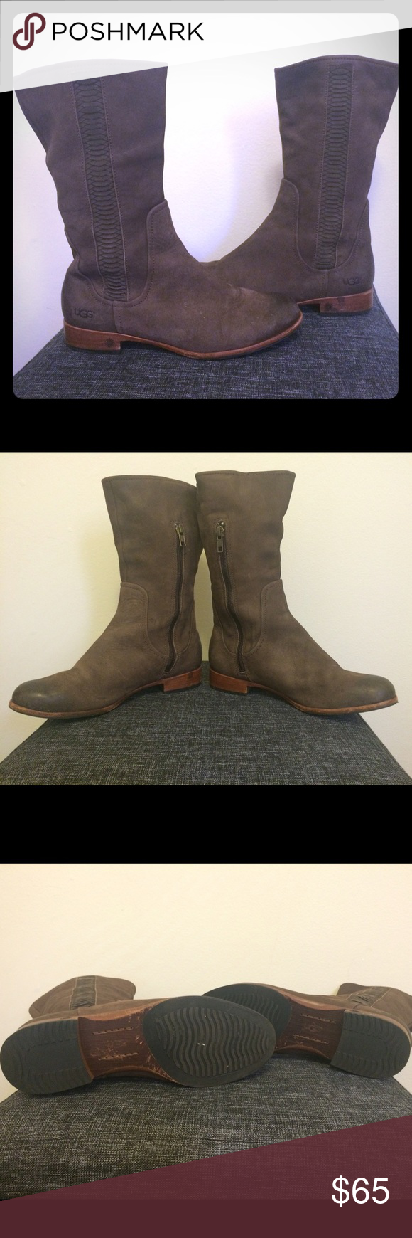 🅿️🅿️$40! Ugg suede ankle boots-Size 7 Gently used Ugg suede ankle boots. Size 7. These boots do have some minor scuffing/markings, but have a lot of life left and are so comfortable. They have the signature soft insole. See all pics and ask questions. UGG Shoes Ankle Boots & Booties