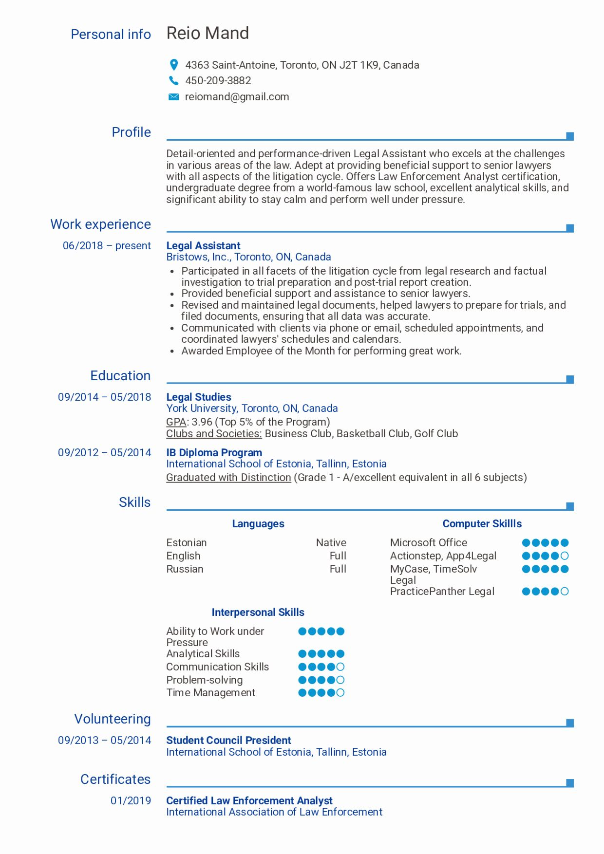 Legal assistant Resume Example Unique Resume Examples by