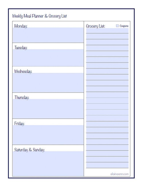 Weekly Meal Planner And Grocery List Printable  Type Ready