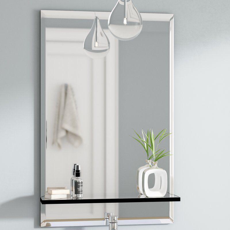 Brizendine Bathroom Vanity Mirror Bathroom Vanity Mirror Mirror With Shelf Contemporary Bathroom Vanity