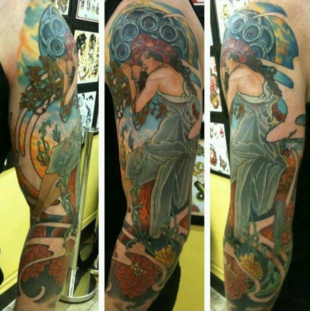 arm sleeve tattoo alphonse mucha girl