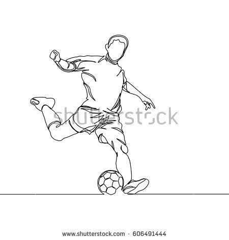Continuous Line Drawing Or One Line Drawing Of Soccer Player Kicking A Ball Drawings Soccer Drawing Continuous Line Drawing