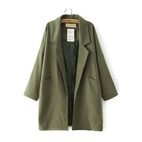 SheIn(sheinside) Army Green Lapel Pockets Loose Trench Coat (€26) ❤ liked on Polyvore featuring outerwear, coats, jackets, green, olive coat, green coat, olive green coat, army green coat and long lapel coat
