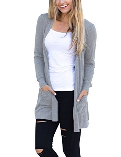 Women/'s Basic Open Front Long Sleeve Solid Knitted Cardigan Long Sweater Top