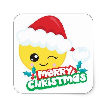 Merry Christmas Winking Emoji Stickers Zazzle Com Christmas Stickers Emoji Stickers Merry