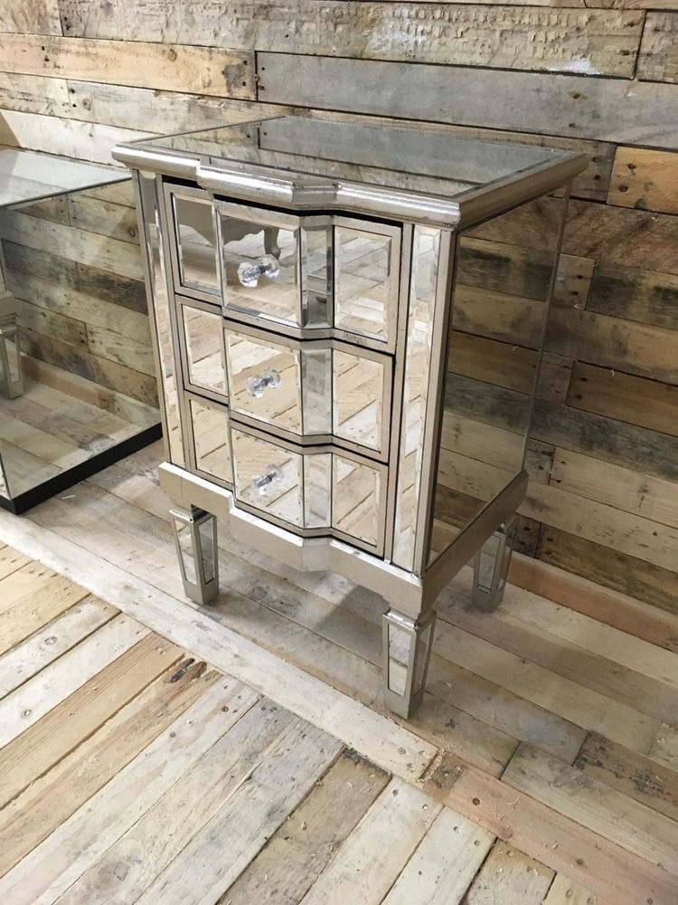 Mirrored Bedside Table With Drawers: Details About Venetian Mirrored 3 Drawer Bedside Table