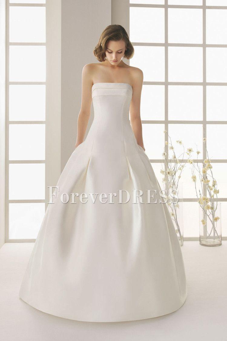 Simple wedding dresses cheap  Simple Silk Strapless OfftheShoulder FloorLength ALine Tucked