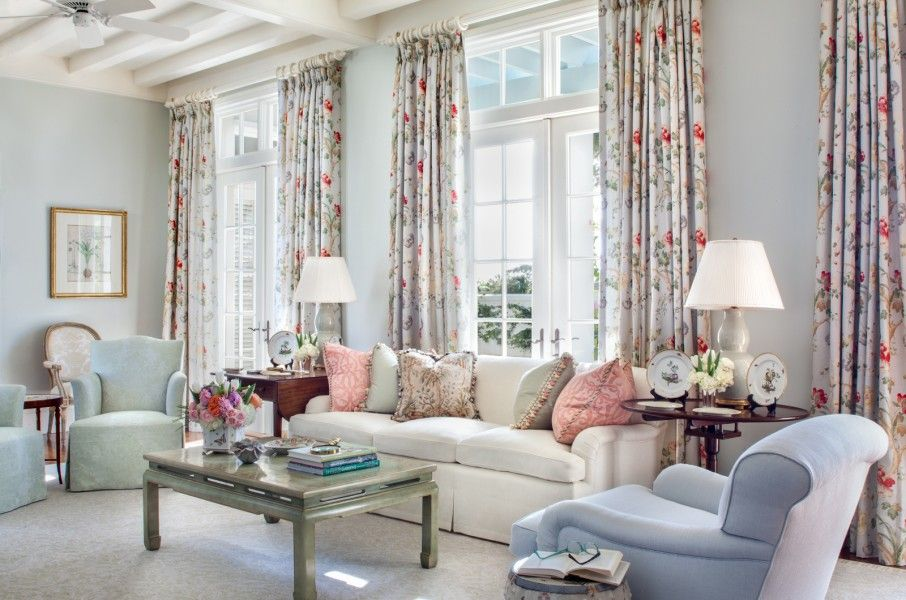 A Pastel Living Room Using The Bennison Montecito As Inspiration For This Florida Residence By Jane Ellsworth Interiors
