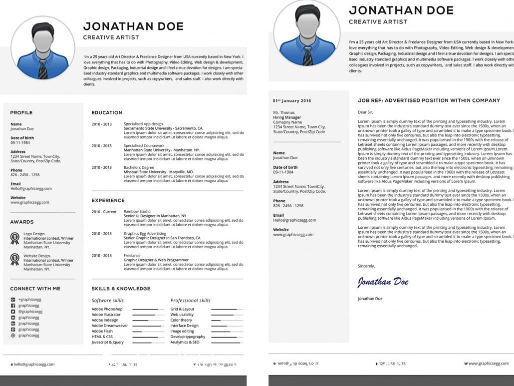 Description Professional Printable Resume And Cover Letter Sets