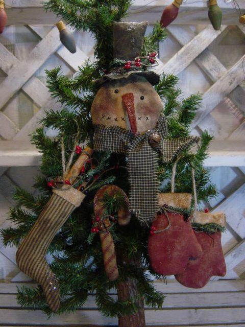 PATTERN Primitive Snowman, Stocking, Candy Cane, Mitten Christmas - primitive christmas decorations