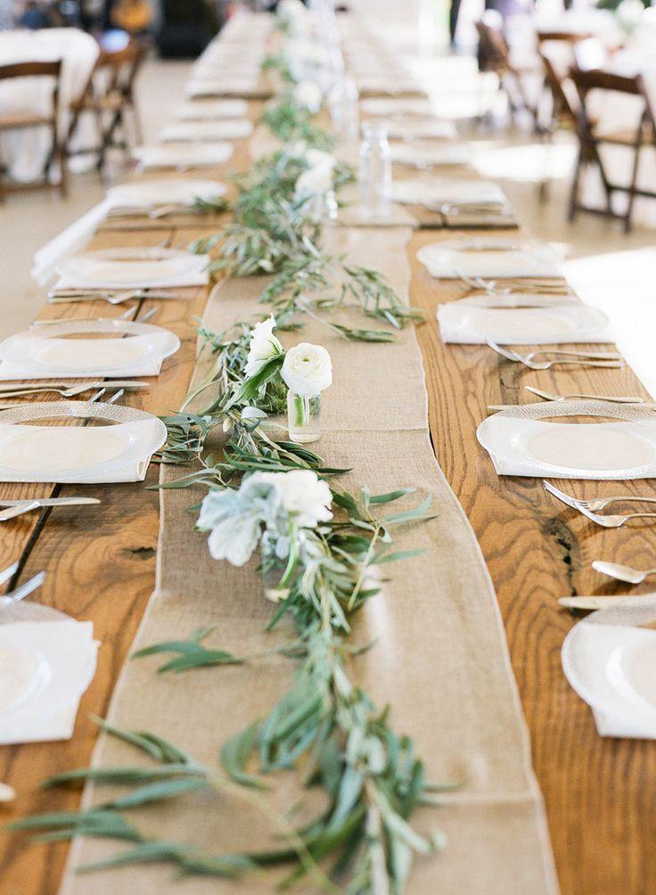 Rustic Farm Tablescape #burlap #tablerunner | Photo:  Www.weddings.brookeboling.com | Floral Design: Www.jaclynjourney.com